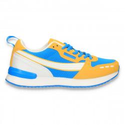 Sneakers colorati pentru dama, cu talpa subtire, albastru-galben - W675