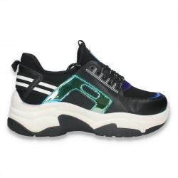 Sneakers casual dama, cu talpa groasa, negru - W677