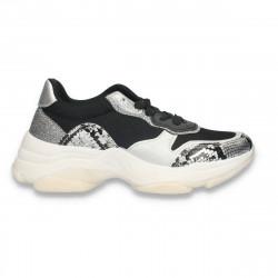 Pantofi casual dama, cu talpa groasa, snake print, negru-argintiu - W679