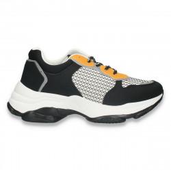 Pantofi casual dama, cu talpa groasa, negru-galben - W680