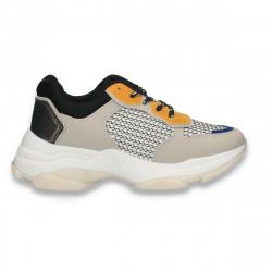 Pantofi casual dama, cu talpa groasa, gri-galben - W681