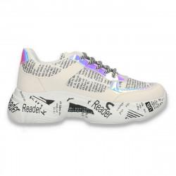 Pantofi casual dama, cu imprimeu scris si talpa inalta, albi - W682