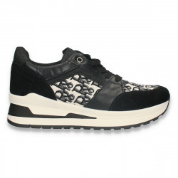 Pantofi casual dama, negru-alb - W683