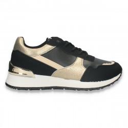 Sneakers casual dama, negru-auriu - W684