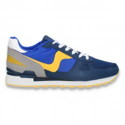 Sneakers pentru barbati, din material textil, bleumarin-galben - W688