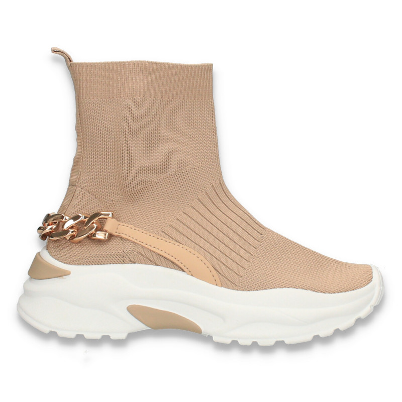 Sneakers inalti, tip ciorap, pentru femei, taupe - W689