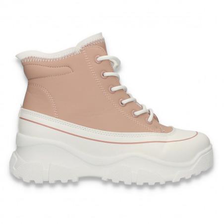Ghete trendy pentru dama, cu talpa inalta, roz - W690