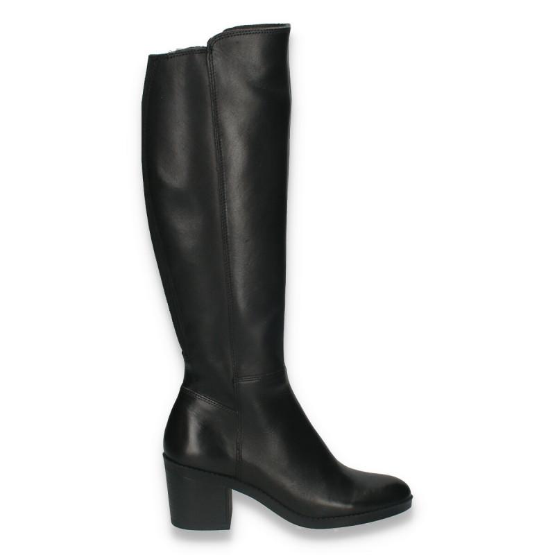 Cizme lungi din piele pentru femei, model clasic, negre - W705
