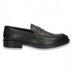 Pantofi barbati din piele, fara siret, negri - W708