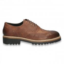 Pantofi smart-casual pentru barbati, in stil Oxford, din piele, maro - W711