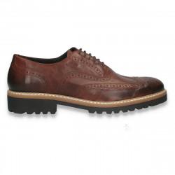 Pantofi smart-casual pentru barbati, in stil Oxford, din piele, maro inchis- W713
