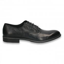 Pantofi din piele pentru barbati, stil elegant, negri - W716
