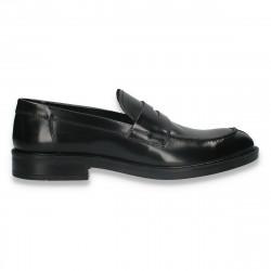 Pantofi barbati din piele lucioasa, fara siret, negri - W717