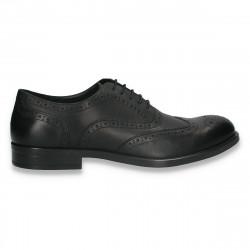 Pantofi eleganti din piele, pentru barbati, in stil Oxford, negri- W718