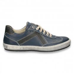Pantofi casual pentru barbati, din piele, bleumarin - W721