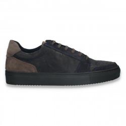 Pantofi casual pentru barbati, din piele, bleumarin-gri - W722