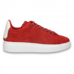 Pantofi casual pentru barbati, din piele intoarsa, cu talpa inalta, rosii - W725