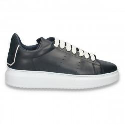 Pantofi casual pentru barbati, din piele, cu talpa inalta, bleumarin - W726