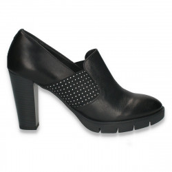 Pantofi dama, din piele, cu toc gros, negri - W727