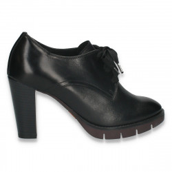Pantofi dama, din piele, cu siret si toc gros, negri - W728