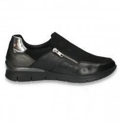 Pantofi casual dama, din piele intoarsa, negri - W729
