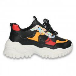 Pantofi sport-casual dama, cu talpa groasa, negru-rosu-galben - W757