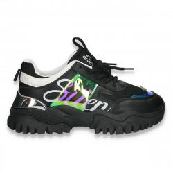 Pantofi sport-casual dama, cu talpa groasa, negru - W758