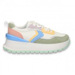 Sneakers casual dama, cu talpa inalta, multicolor - W759