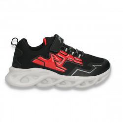Pantofi sport pentru baieti, negru-rosu - W766