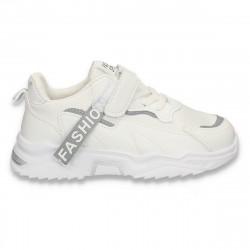 Pantofi sport pentru copii, din piele ecologica, albi - W767