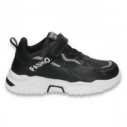 Pantofi sport pentru copii, din piele ecologica, negri - W768