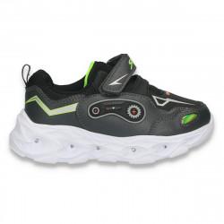 Pantofi sport pentru baieti, cu leduri, negri - W773