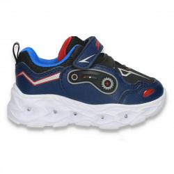 Pantofi sport pentru baieti, cu leduri, bleumarin - W774