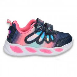 Pantofi sport, cu leduri, pentru fetite, bleumarin-fucsia - W775