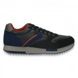 Sneakers casual pentru barbati, din piele ecologica, bleumarin-portocaliu - W789