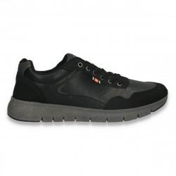 Sneakers casual pentru barbati, din piele ecologica, negri - W798