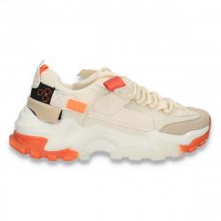 Sneakers trendy dama, cu talpa groasa, bej - W799