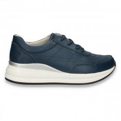 Sneakers casual pentru femei, din piele, bleumarin - W809