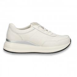 Sneakers casual pentru femei, din piele, albi - W810