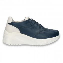 Sneakers casual, cu talpa inalta, pentru femei, din piele, bleumarin - W811