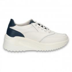 Sneakers casual, cu talpa inalta, pentru femei, din piele, alb - W812