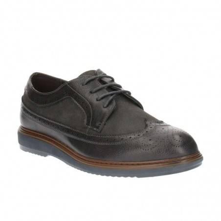 Pantofi Barbati Gri din Material combinat cu perforatii