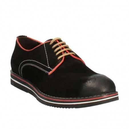 Pantofi Barbati Eleganti Negri cu Talpa colorata