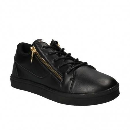 Pantofi Sport Barbati Negri cu Fermoar Auriu
