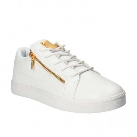 Pantofi Sport Barbati Albi cu Fermoar Auriu